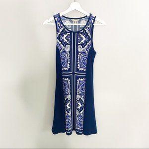 Banana Republic Blue Colorblock A-Line Dress